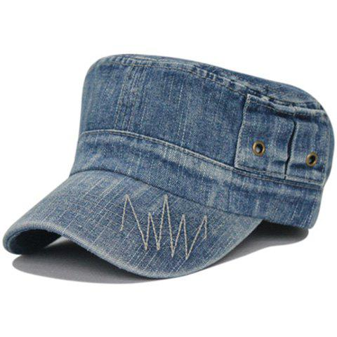 Unique Line Embroidery Washed Flat Top Hat - MEDIUM BLUE