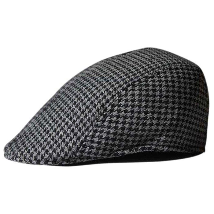 Unique Houndstooth Pattern Duckbill Hat - BLACK/GRAY