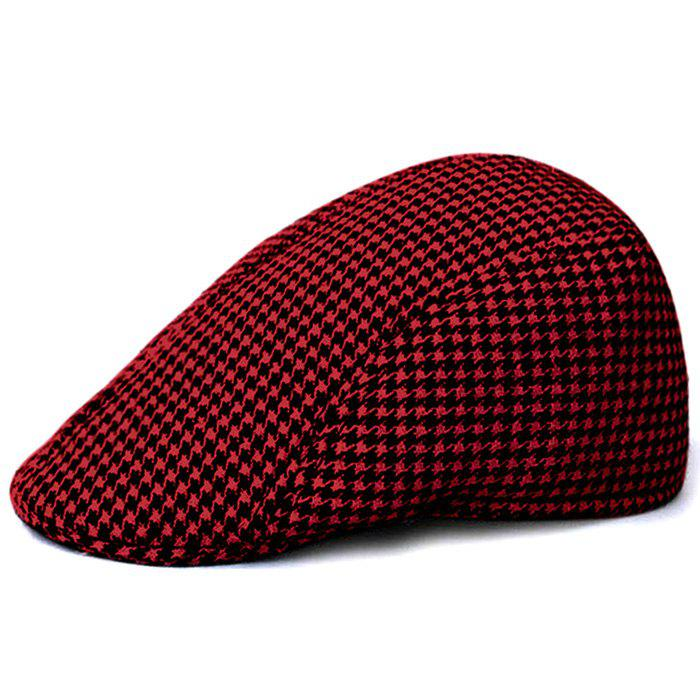 Unique Houndstooth Pattern Duckbill Hat - BLACK/RED