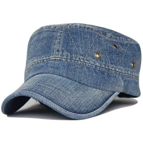 Simple Line Embroidery Washed Military Cap - MEDIUM BLUE