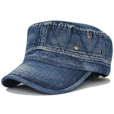 Simple Line Embroidery Washed Military Cap - DEEP BLUE