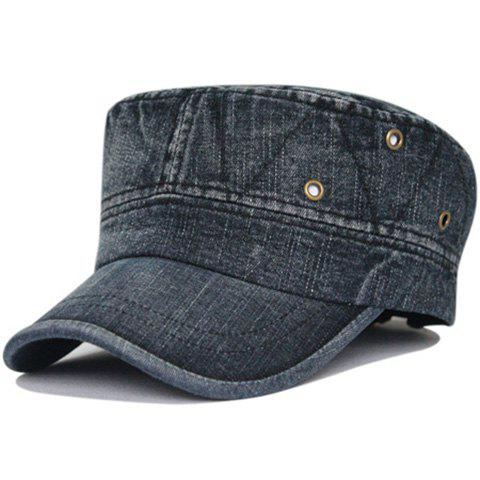 Simple Line Embroidery Washed Military Cap - BLACK