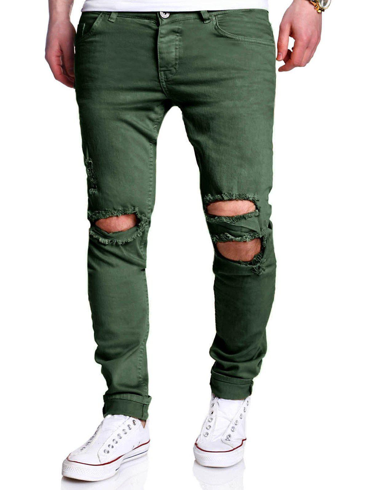Five-pocket Knee Broken Skinny Jeans - GREEN 38