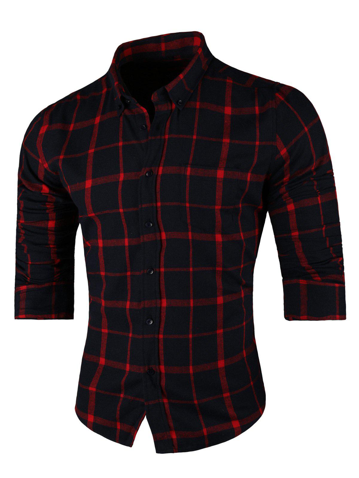 Long Sleeve Button Down Checkered Shirt - RED 4XL
