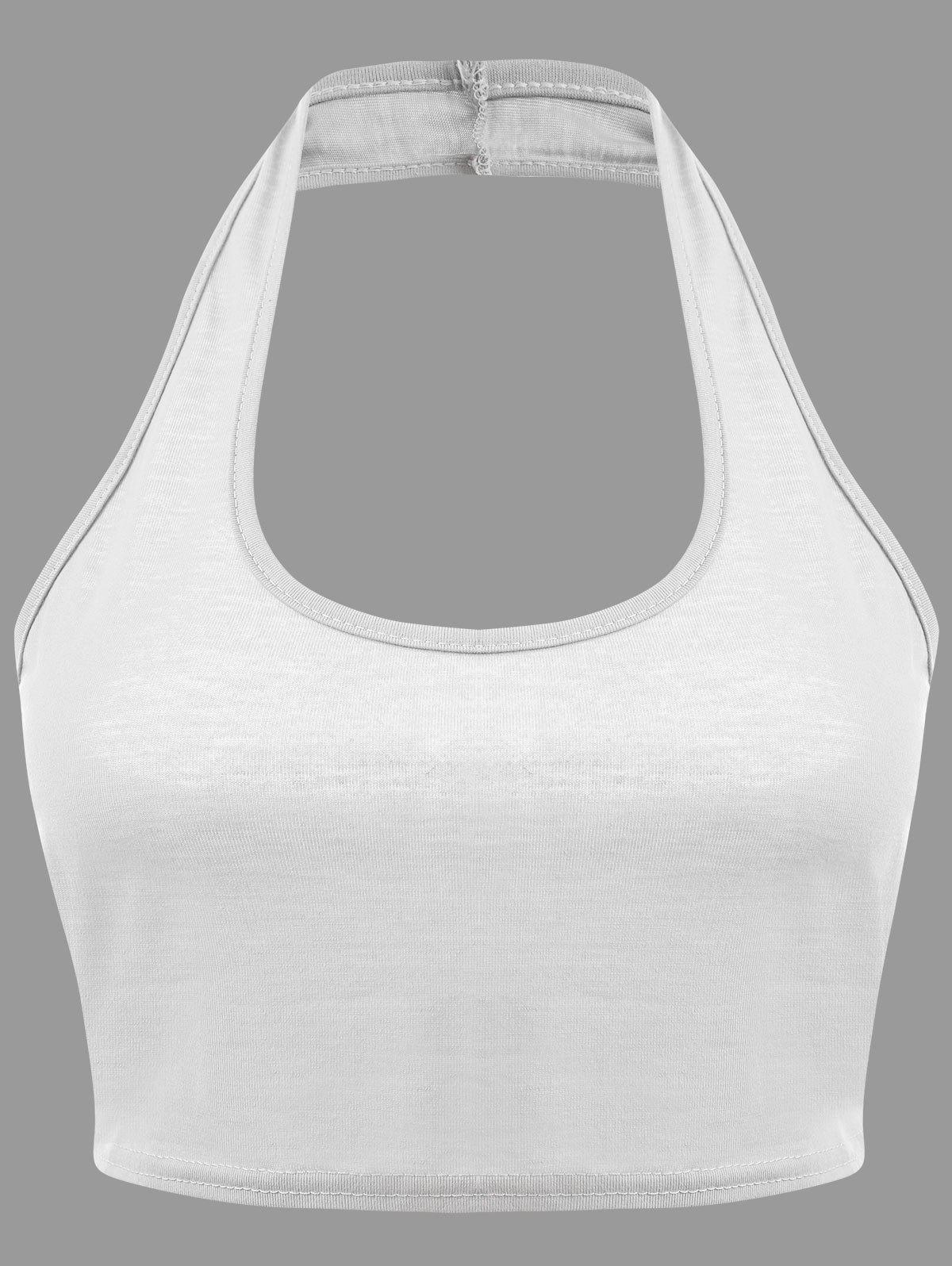 Backless Halter Plunge Crop Top - WHITE S