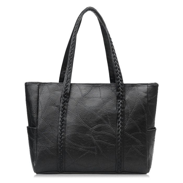 Stitching Braid Shoulder Bag - BLACK