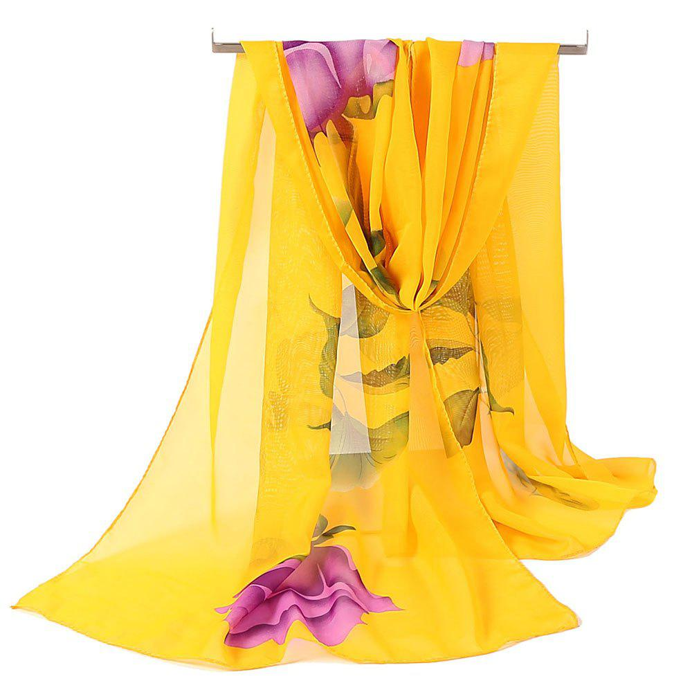 Vintage Rose Pattern Printed Silky Scarf - YELLOW