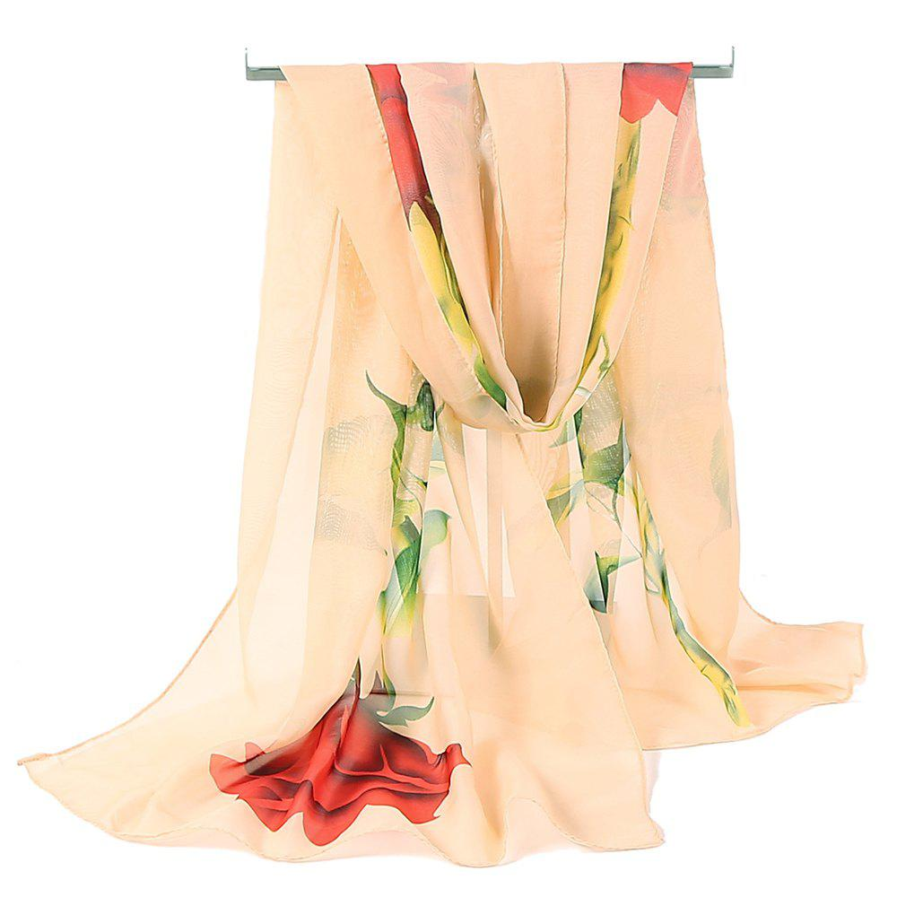 Vintage Rose Pattern Printed Silky Scarf - APRICOT
