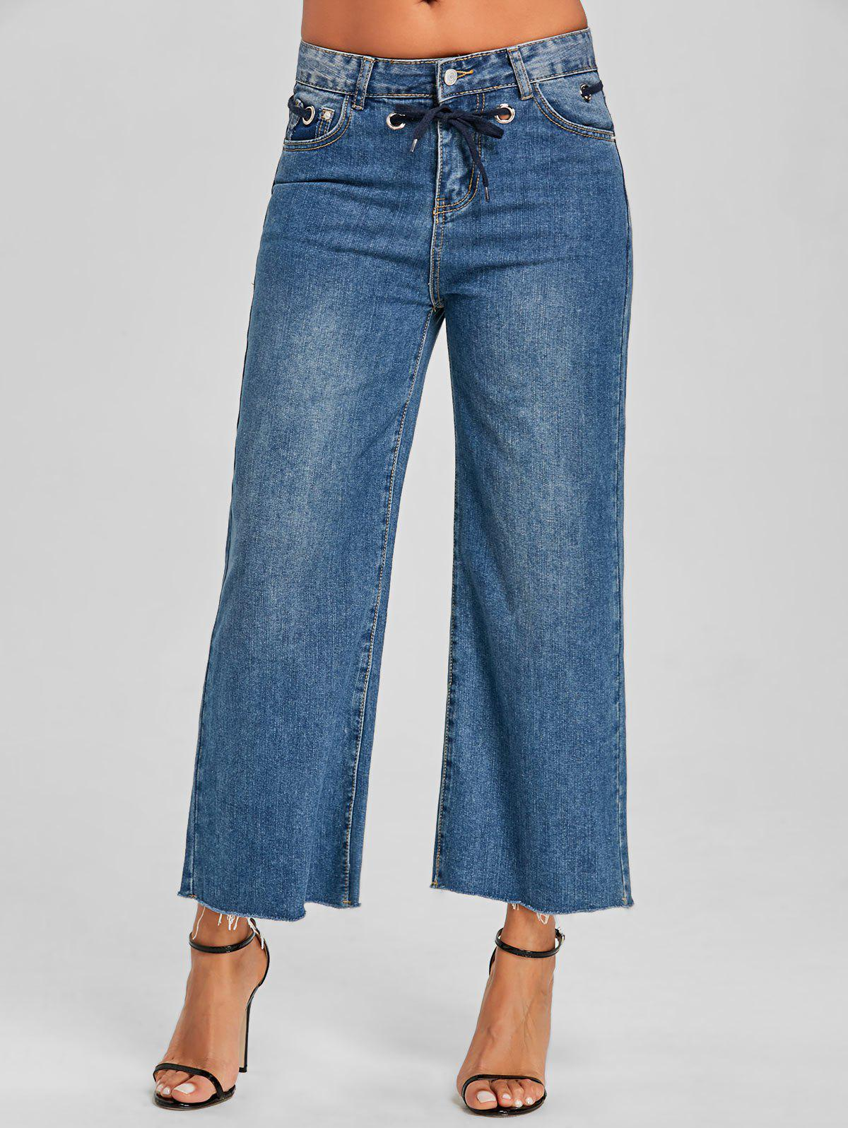 Grommet Tie Up Wide Leg Jeans - DENIM BLUE L