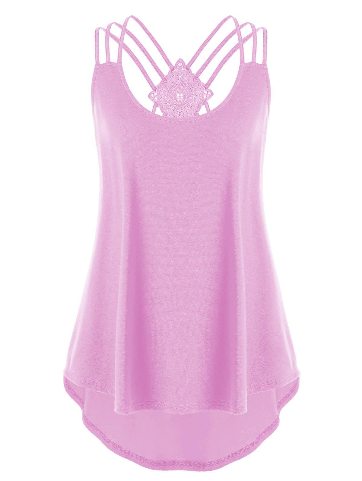 Plus Size Criss Cross Curved Tank Top - PINK XL