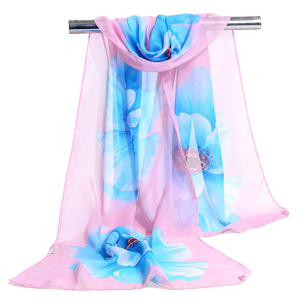 Simple Flowers Pattern Printed Silky Scarf - PINK