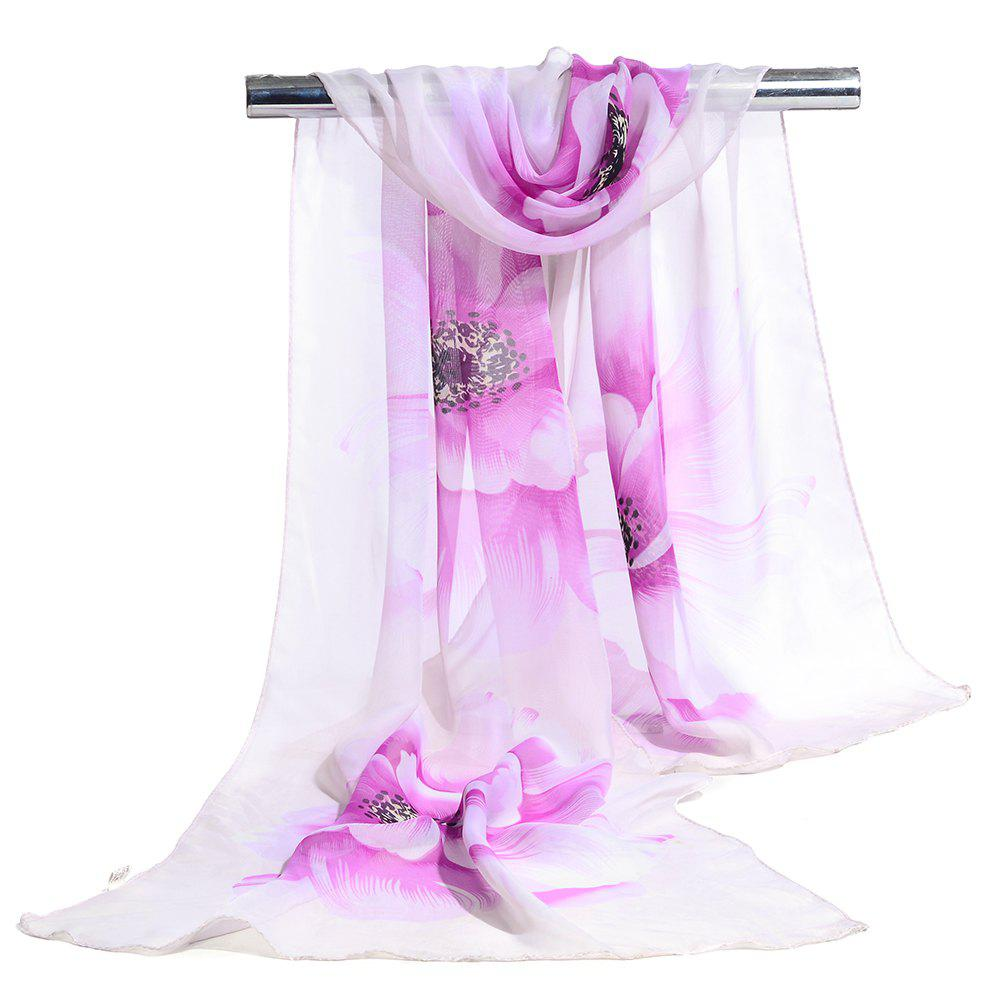 Simple Flowers Pattern Printed Silky Scarf - PURPLE
