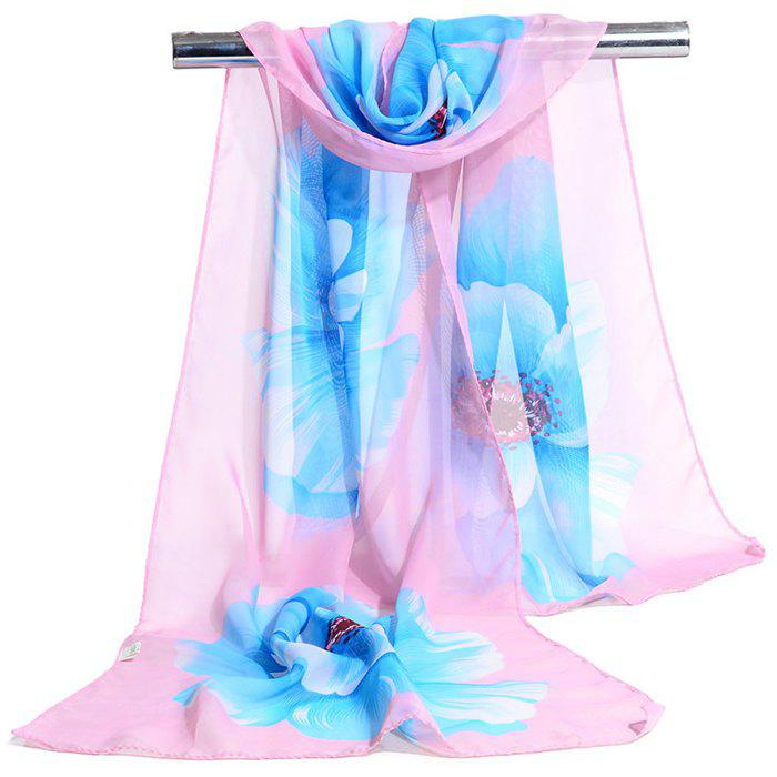 Simple Flowers Pattern Printed Silky Scarf - BLUE