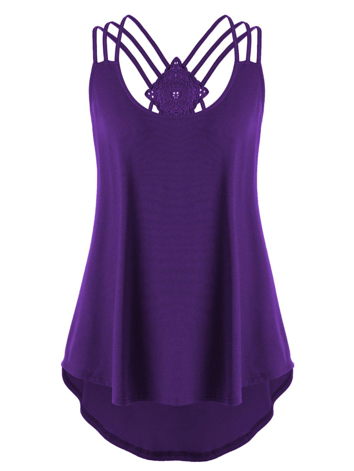 Plus Size Criss Cross Curved Tank Top - PURPLE XL