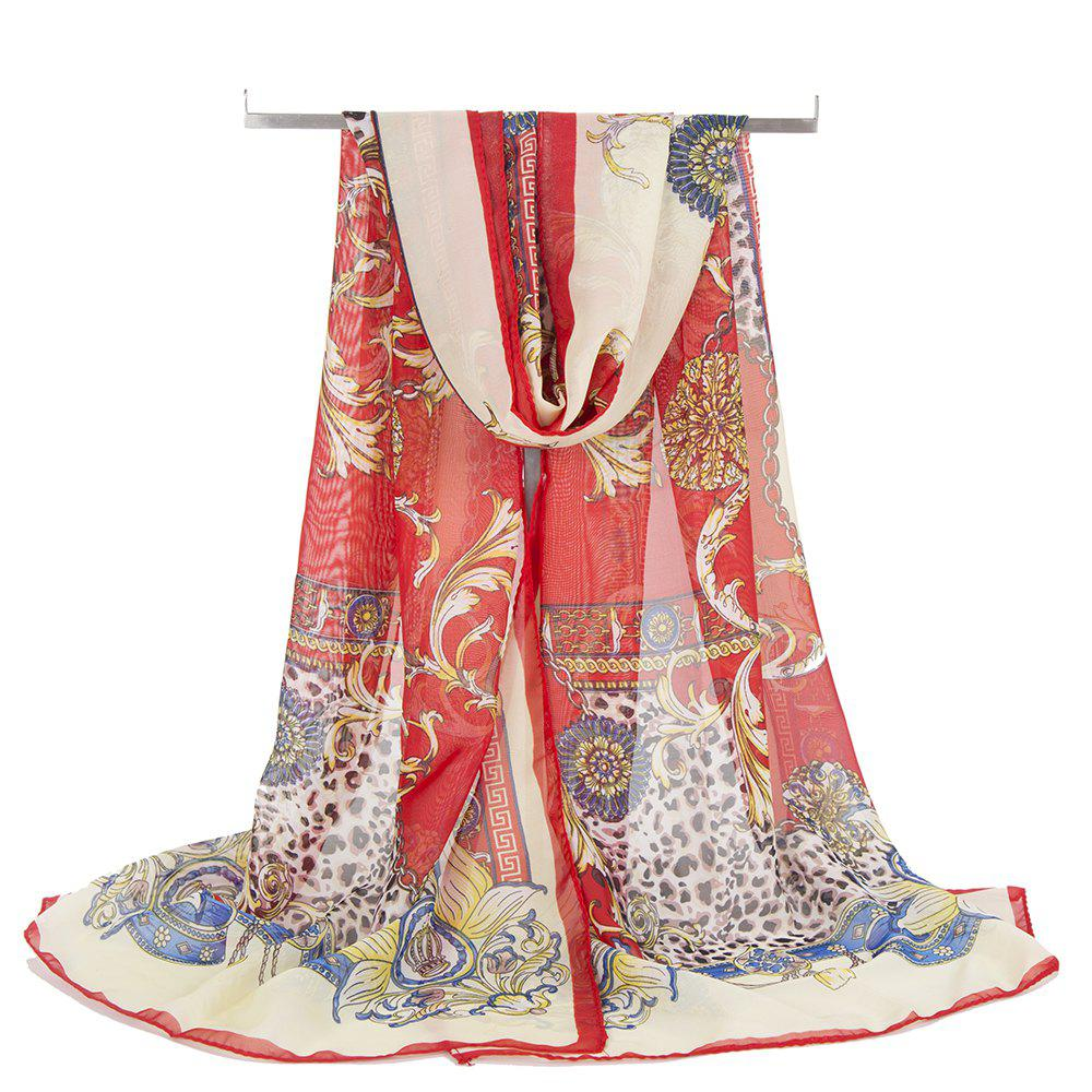 Vintage Flowers Pattern Embellished Silky Scarf - RED