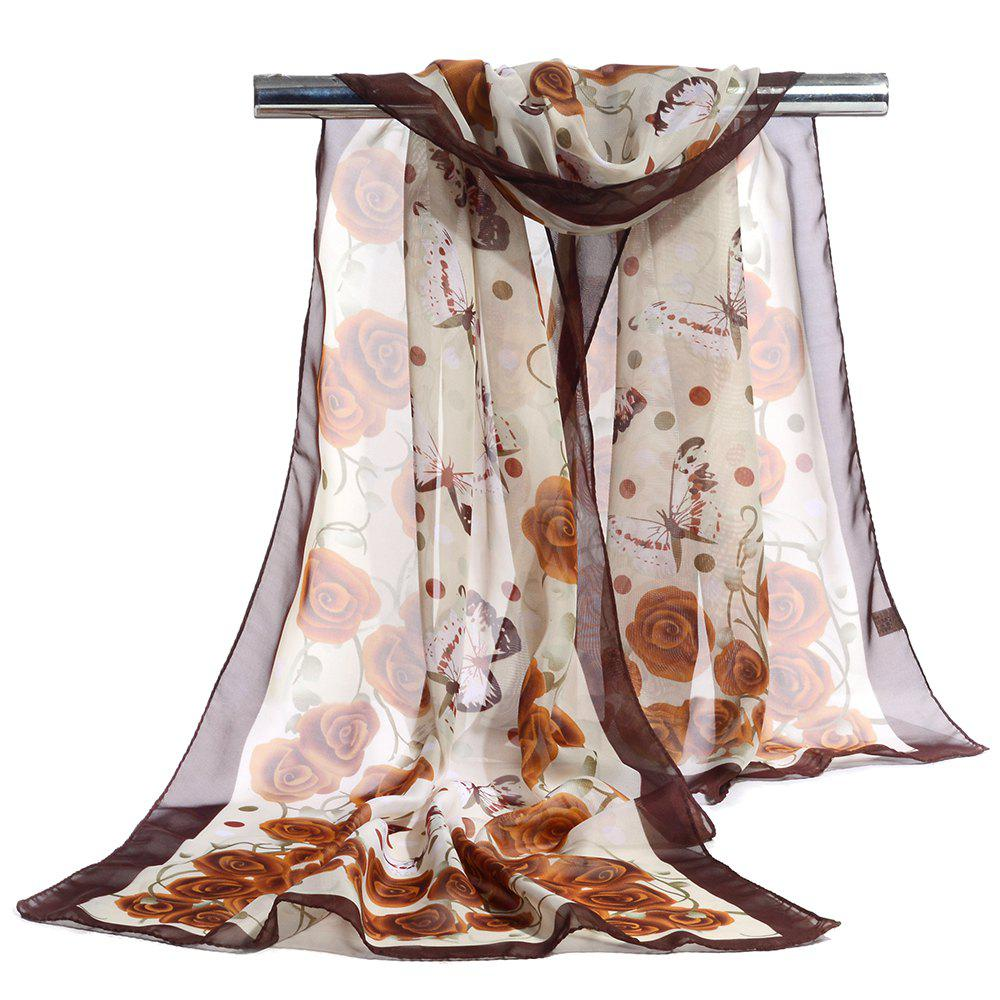 Vintage Flying Butterfly Pattern Sliky Long Scarf - CAMEL
