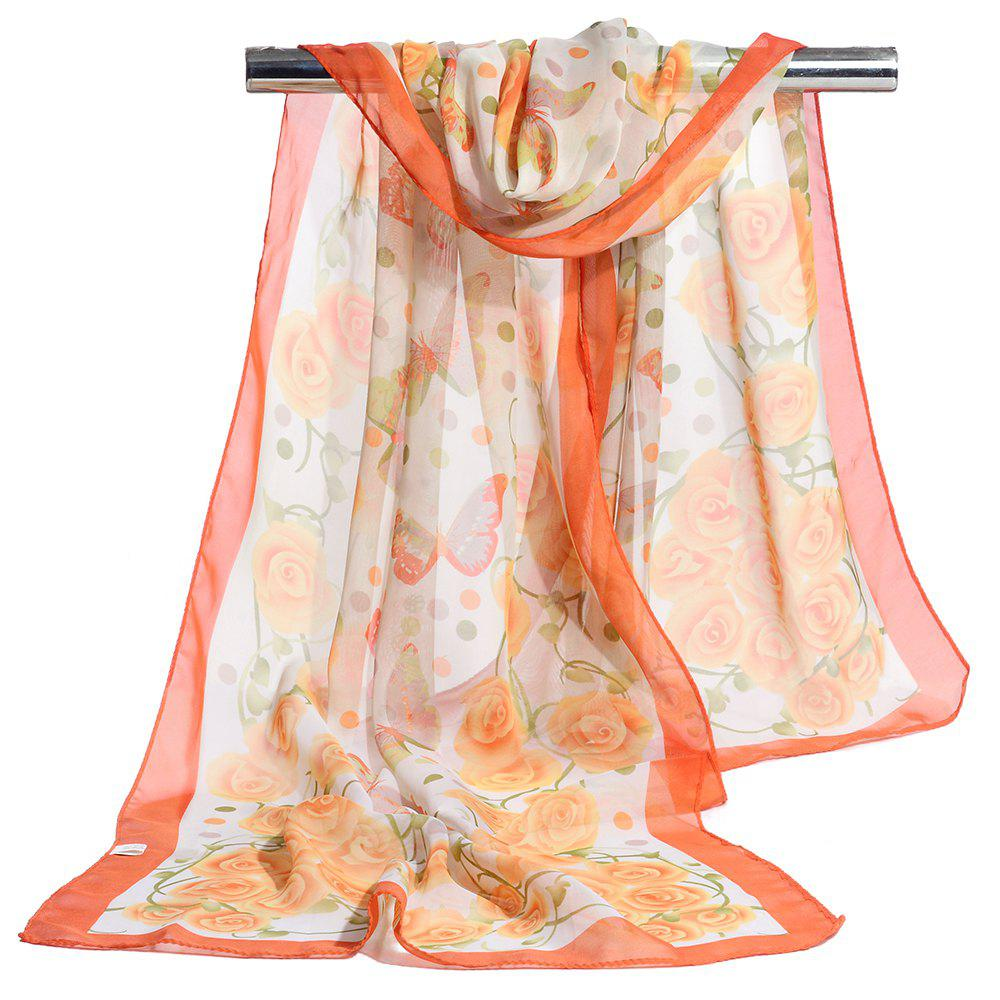 Vintage Flying Butterfly Pattern Sliky Long Scarf - ORANGE YELLOW