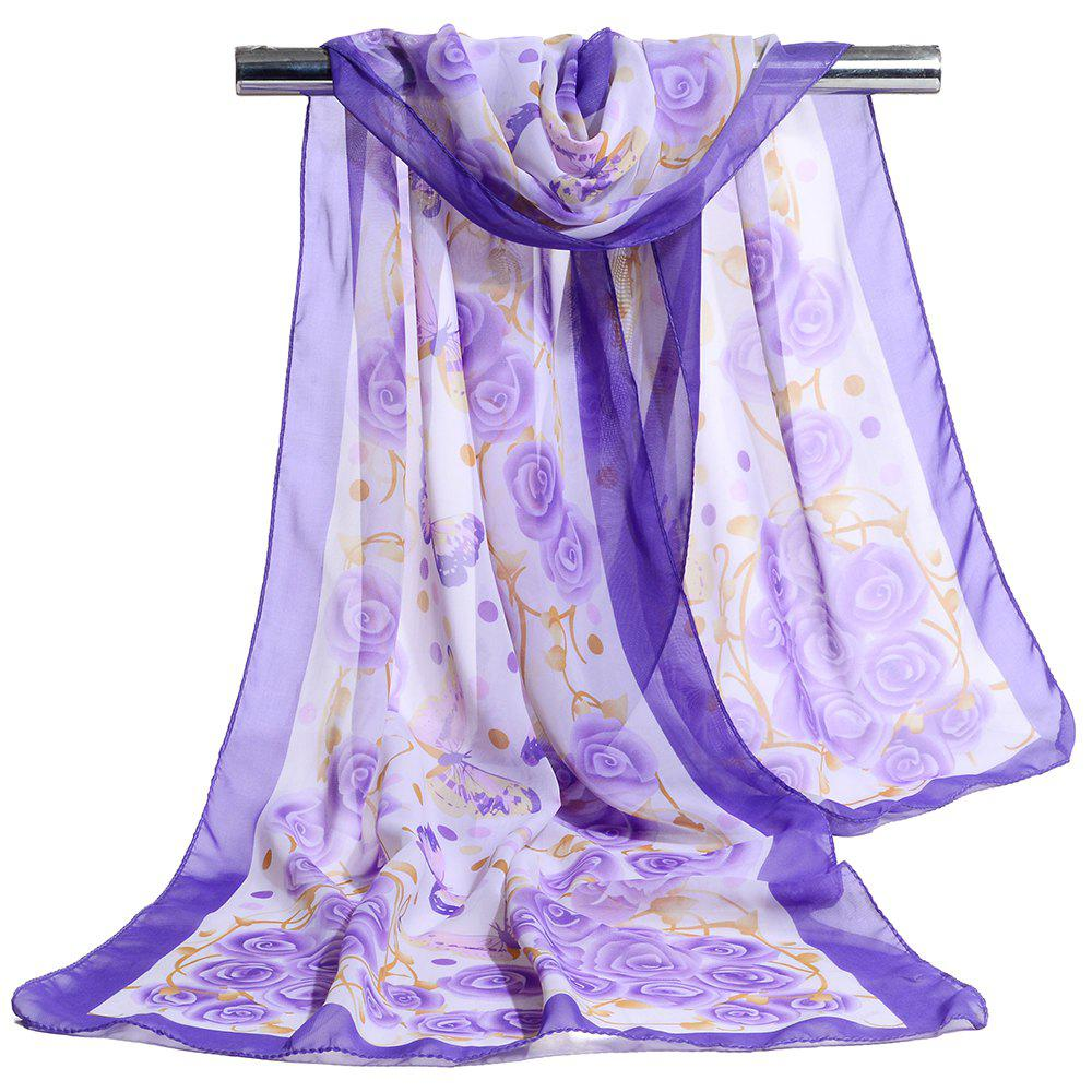 Vintage Flying Butterfly Pattern Sliky Long Scarf - PURPLE