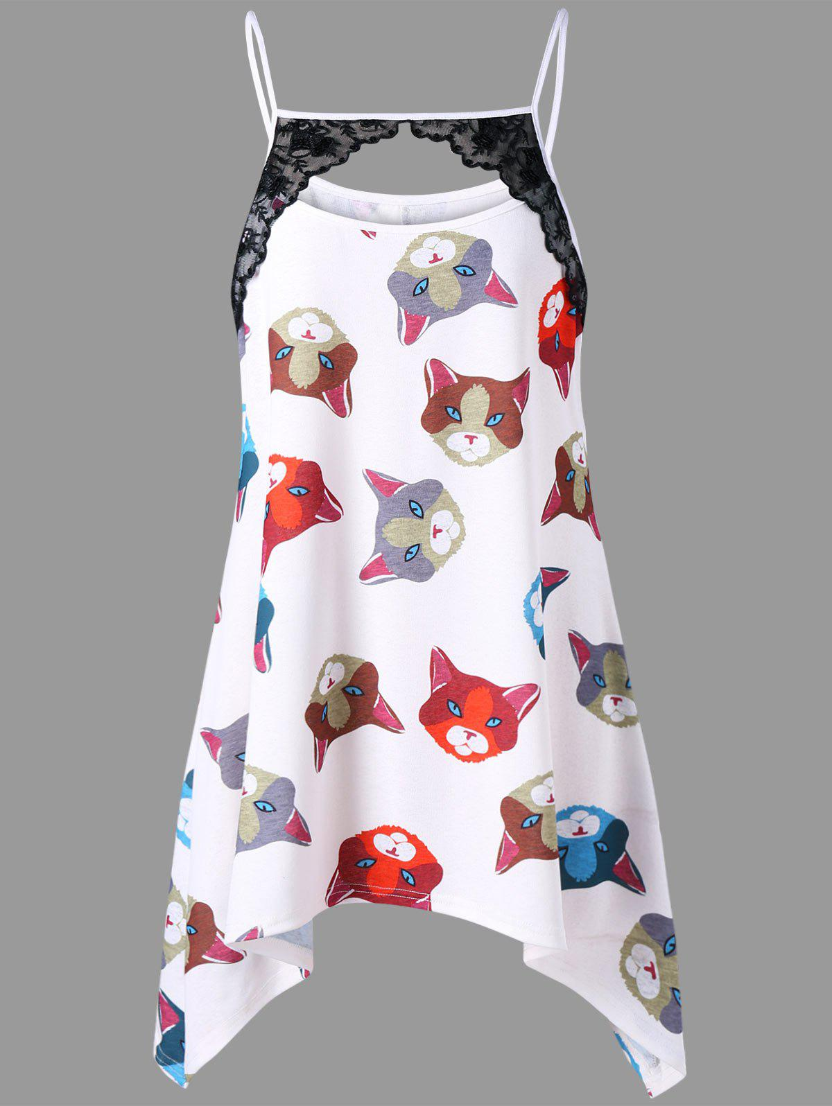 Plus Size Cat Print Crescent Hem Tunic Tank Top skull cat print crescent hem top