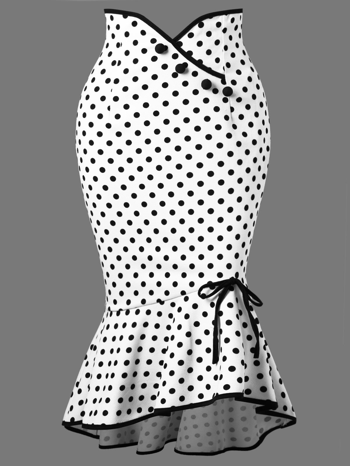 Polka Dot Flounced Fishtail Skirt - WHITE XL