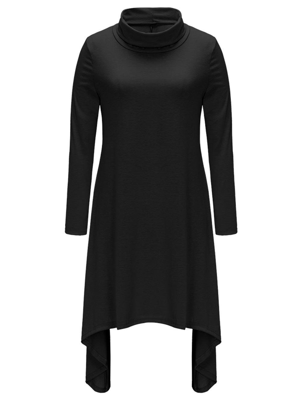 Turtle Neck Long Sleeve Asymmetric Dress - BLACK L