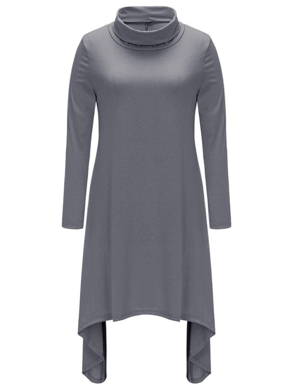 Turtle Neck Long Sleeve Asymmetric Dress - DARK GRAY L