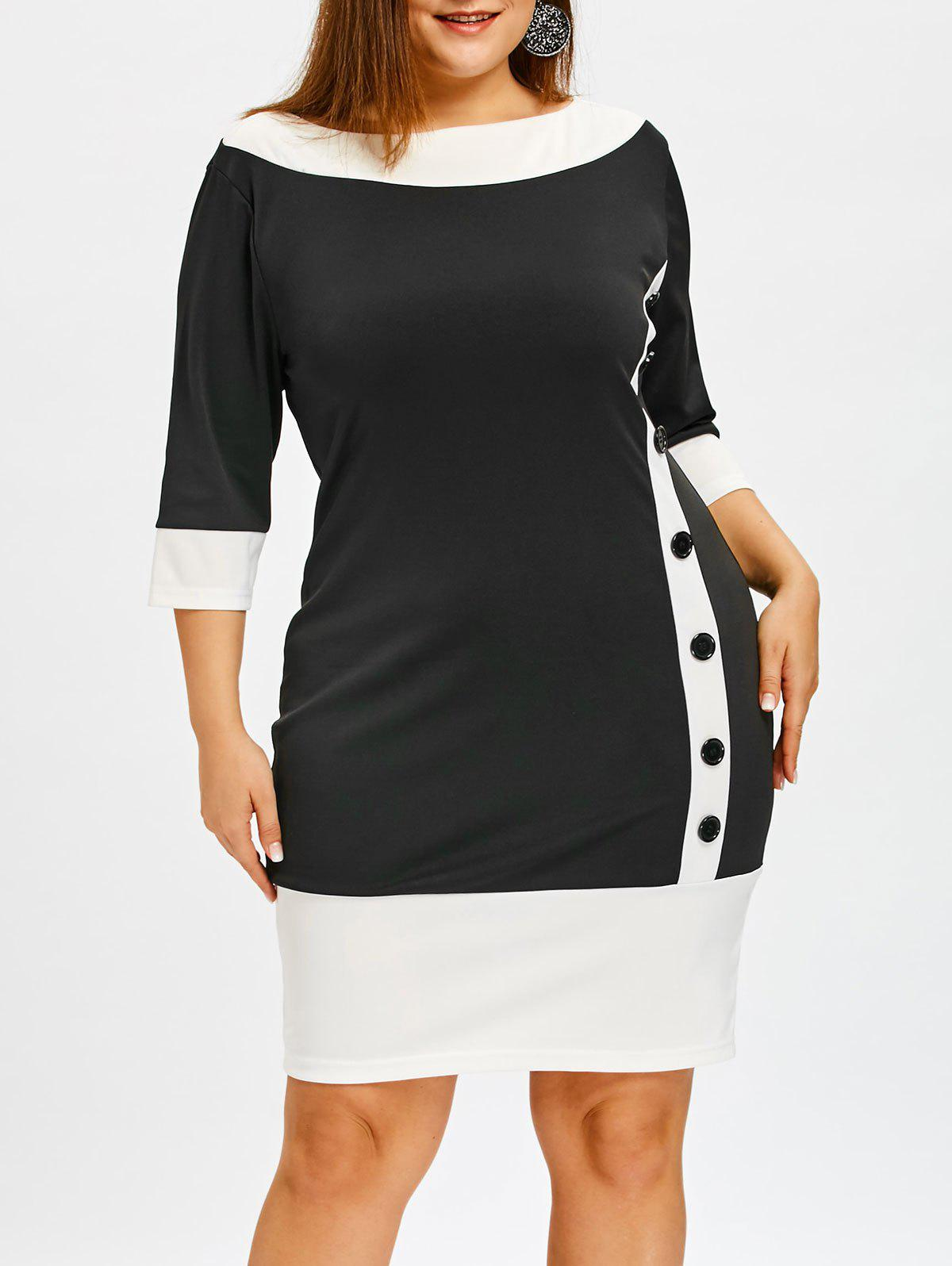 Color Block Plus Size Bodycon Dress with Button стиральная машина славда ws 35e