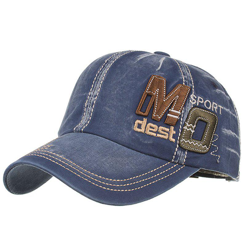 Unique MO Embroidery Adjustable Snapback Hat - CADETBLUE