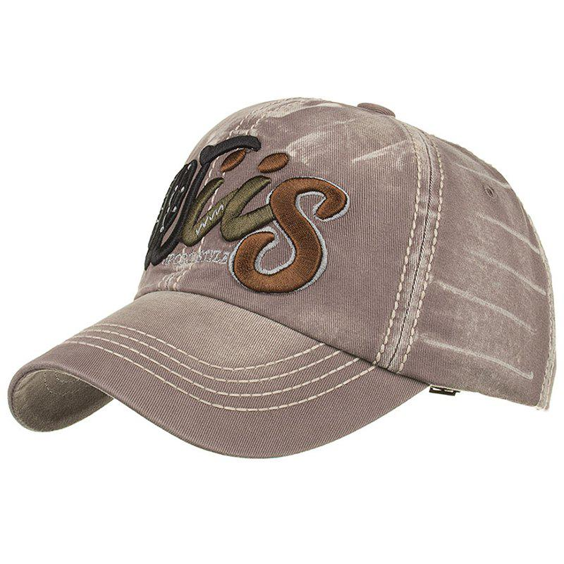Letter Embroidery Adjustable Sunscreen Hat - GRAY