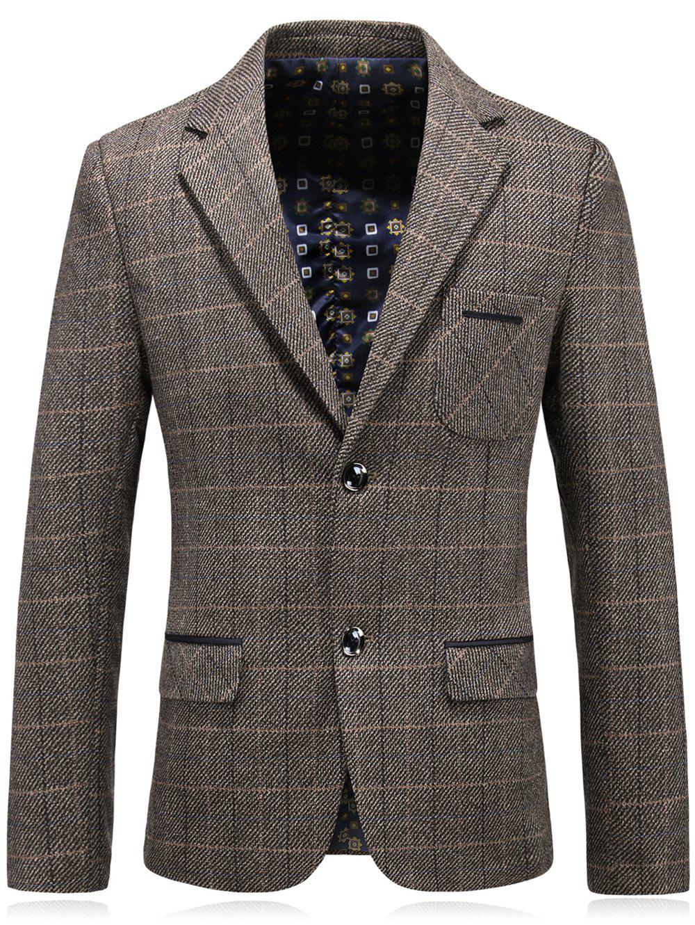Chest Pocket Tweed Casual Blazer - CAPPUCCINO 2XL
