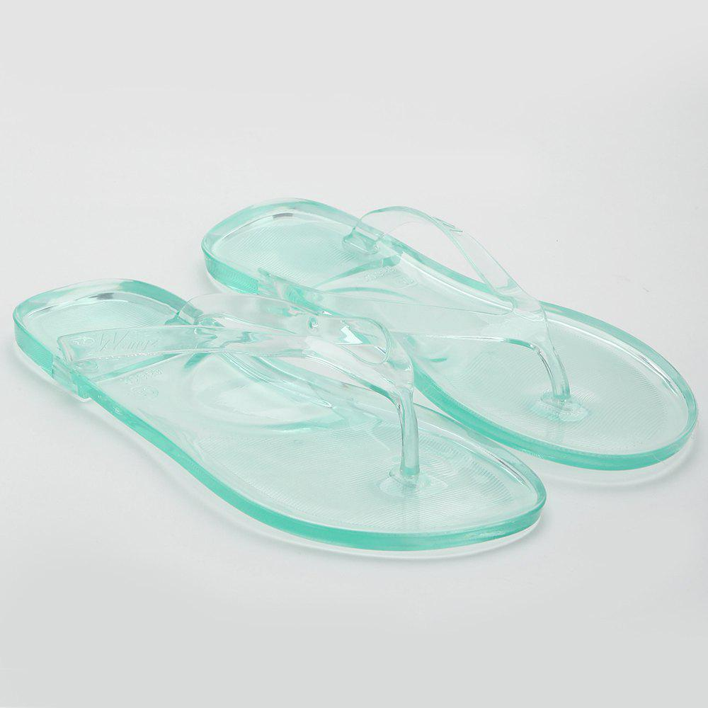 Summer Beach Flat Clear Flip Flops - GREEN 39