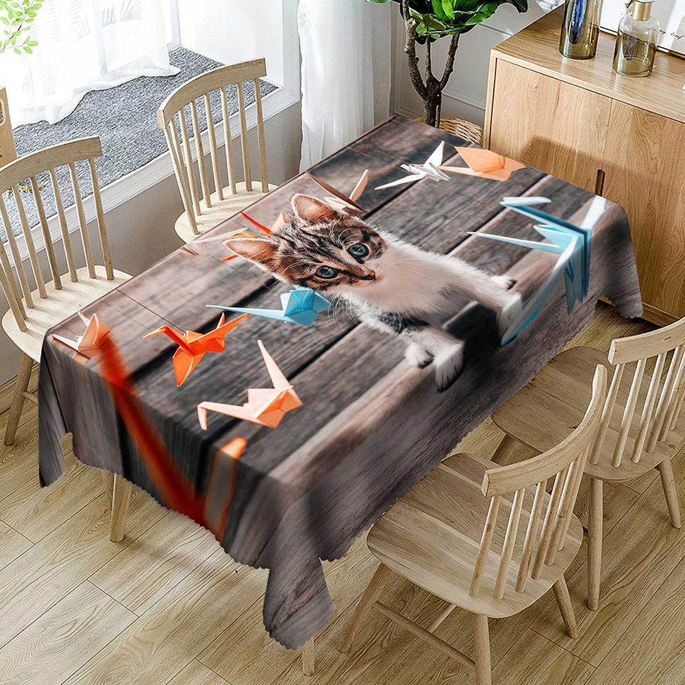 Kitten Papercranes Pattern Waterproof Table Cloth - WOOD COLOR W54 INCH * L54 INCH