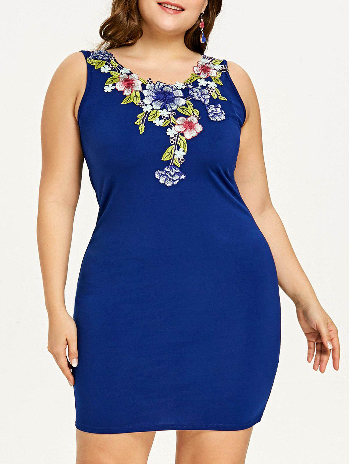Plus Size Embroidery Mini Party Dress - BLUE 2XL