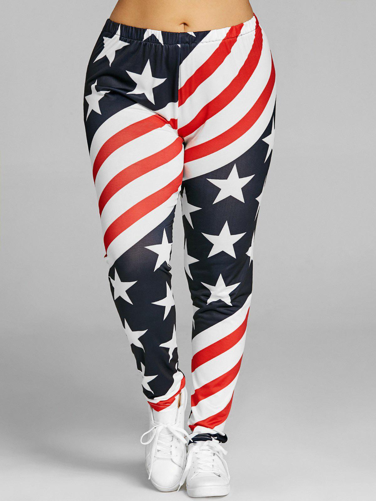 Patriotic Striped Star Print Plus Size Leggings - US FLAG 4XL