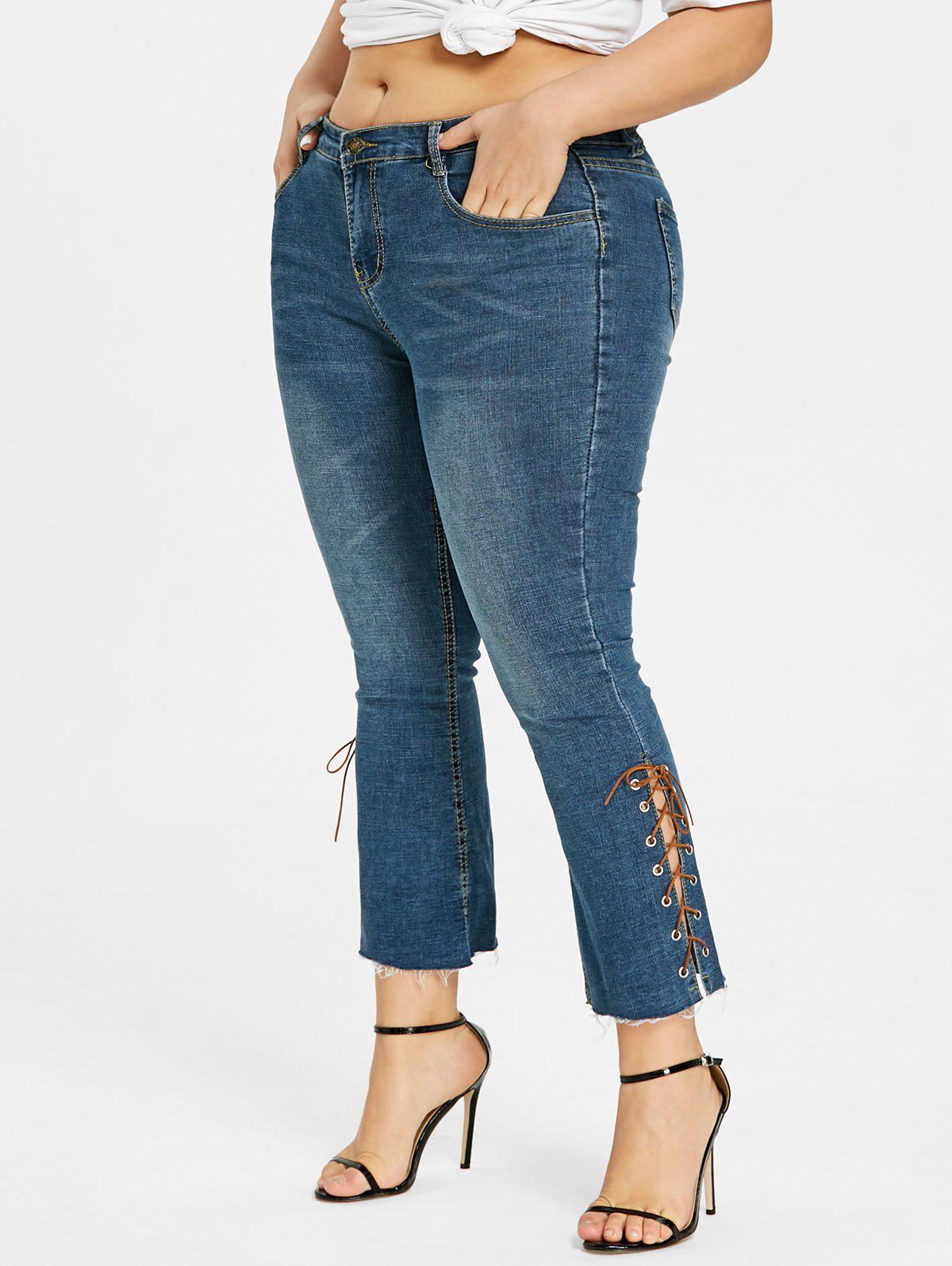 Side Lace Up Plus Size Bootcut Jeans - BLUE 2XL