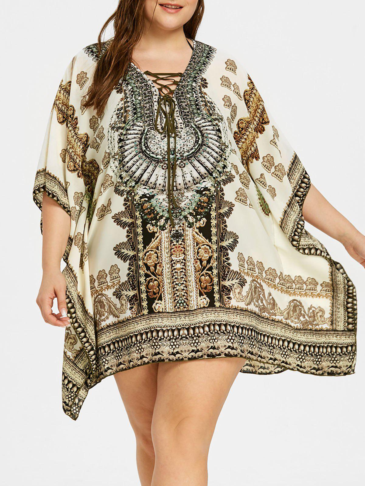 Graphic Rectangle Plus Size Cover Up - COLORMIX ONE SIZE