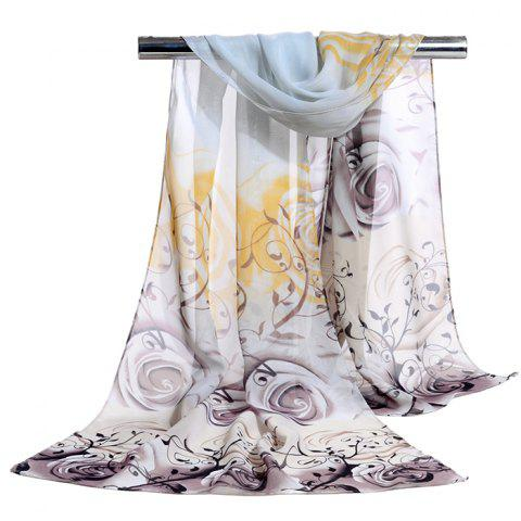 Romantic Rose Printed Silky Long Scarf - GRAY