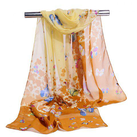 Flying Butterfly Pattern Silky Scarf - TAN