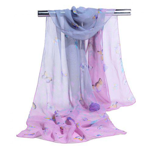 Flying Butterfly Pattern Silky Scarf - PINK