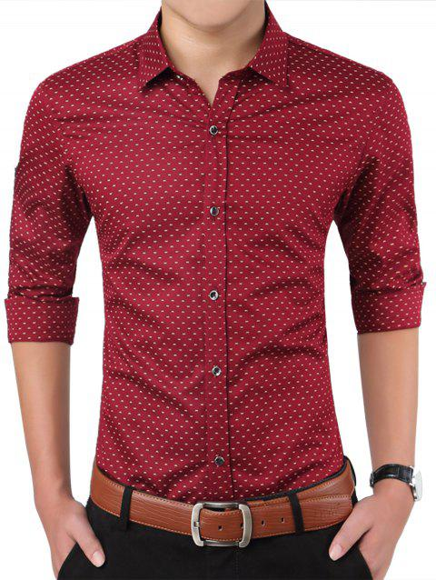 Turndown Collar W Pattern Printed Shirt - CLARET 5XL