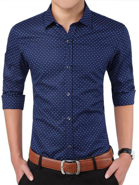 Turndown Collar W Pattern Printed Shirt - DEEP BLUE 2XL