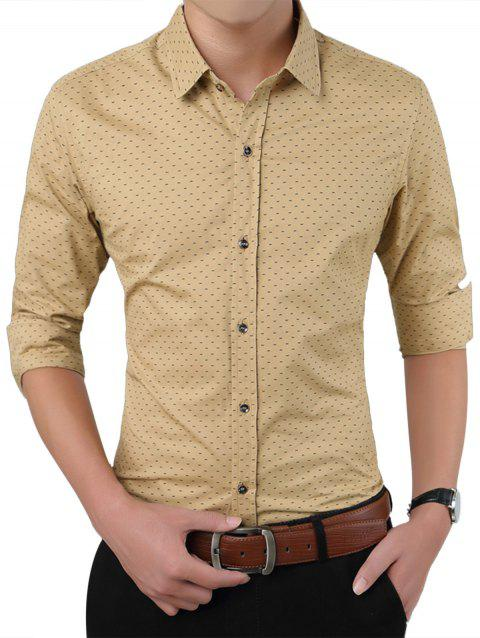 Turndown Collar W Pattern Printed Shirt - KHAKI 3XL