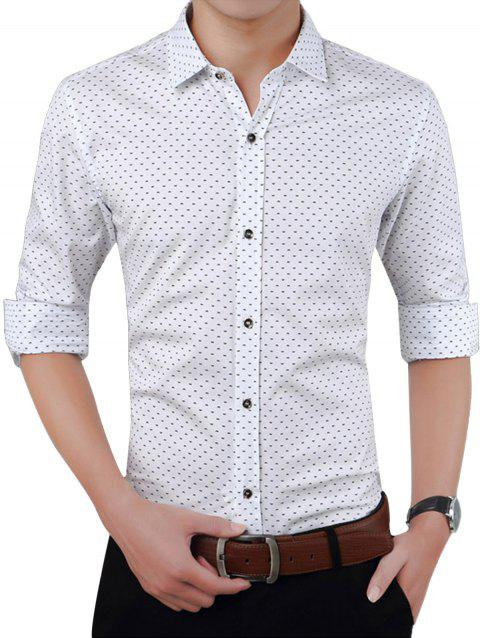 Turndown Collar W Pattern Printed Shirt - WHITE XL