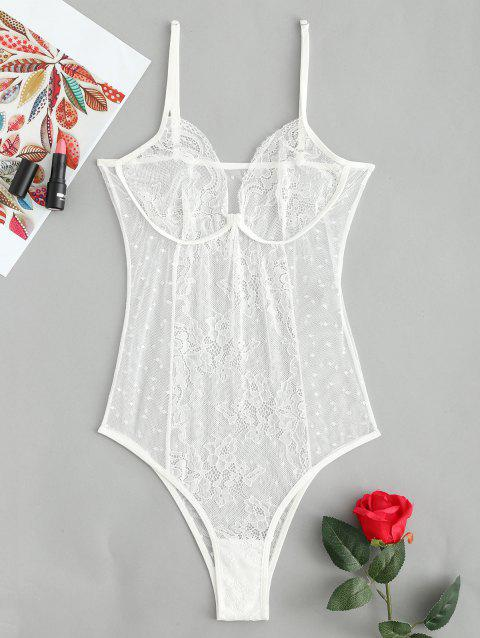 Lingerie See-through Lace High Cut Teddy - WHITE S