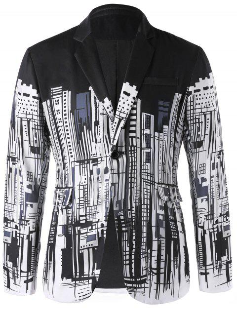 Doodle Buildings Printed Single Button Blazer - WHITE/BLACK M