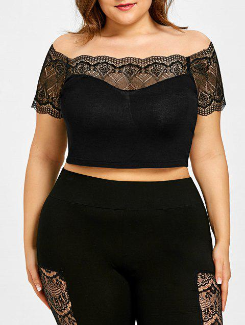 Plus Size Off Shoulder Lingerie Bra Top - BLACK XL