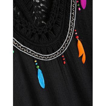 Crochet Collar Tunic Cover Up with Feather - BLACK ONE SIZE