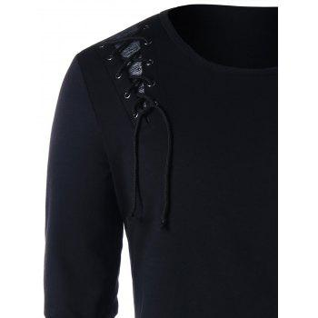 Criss Cross Lace Up Long Sleeve T-shirt - BLACK M