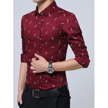 Polka Dot With Wheat Pattern Long Sleeve Shirt - WINE RED 2XL