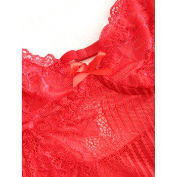 Lace See Through Plunge Thong Bodysuit - RED S